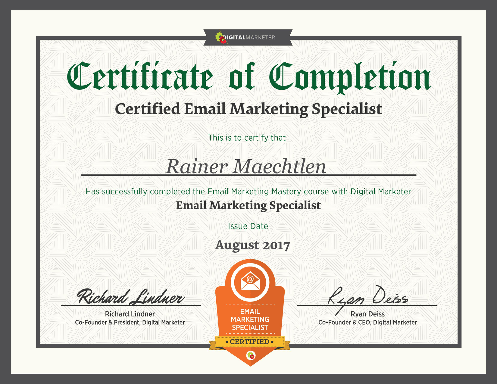 Urkunde: Certified Email Marketing Specialist