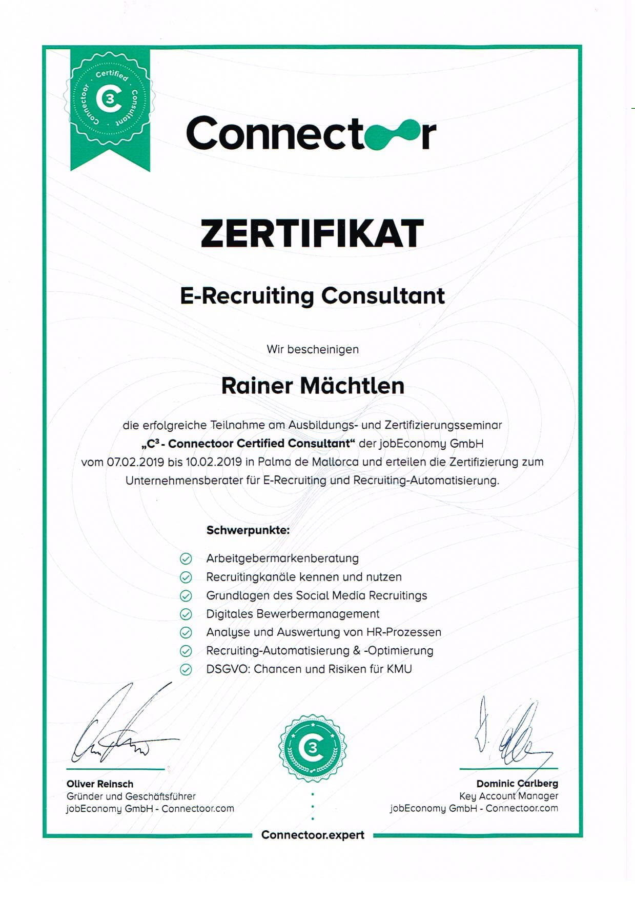 Urkunde Connectoor Certified Consultant
